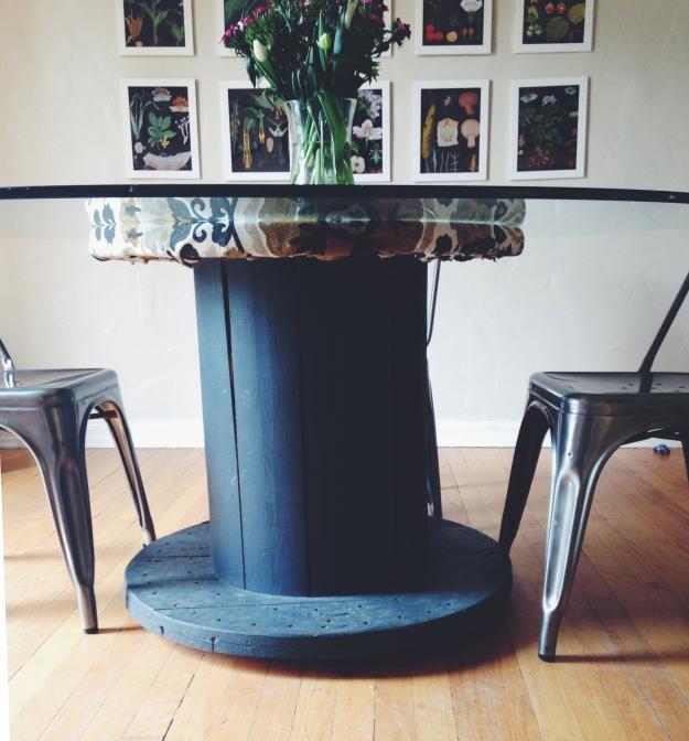 wire spool dining table - jenn goodrich design